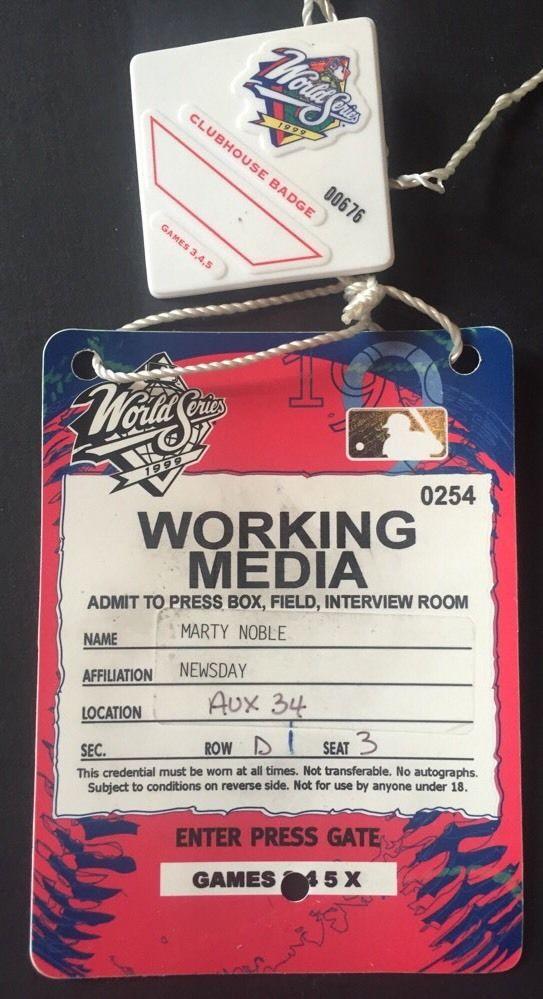 1999 World Series Media Press Pass & Clubhouse Badge Yankees Rivera Mvp  Jeter