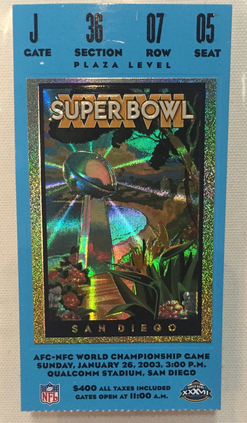 2003 ORIGINAL Super Bowl XXXVII 37 Ticket Stub  Tampa Bay bucaneers  VS Raiders