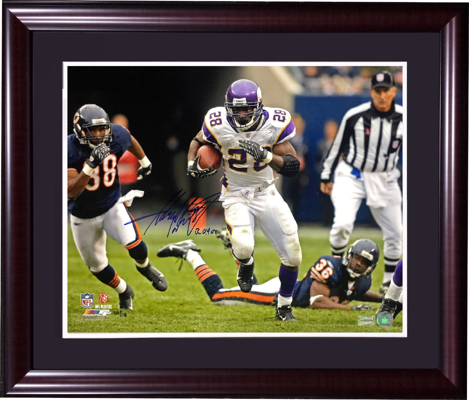 Adrian Peterson signed 16×20 photo framed autograph ins ROY 07 AD holo COA