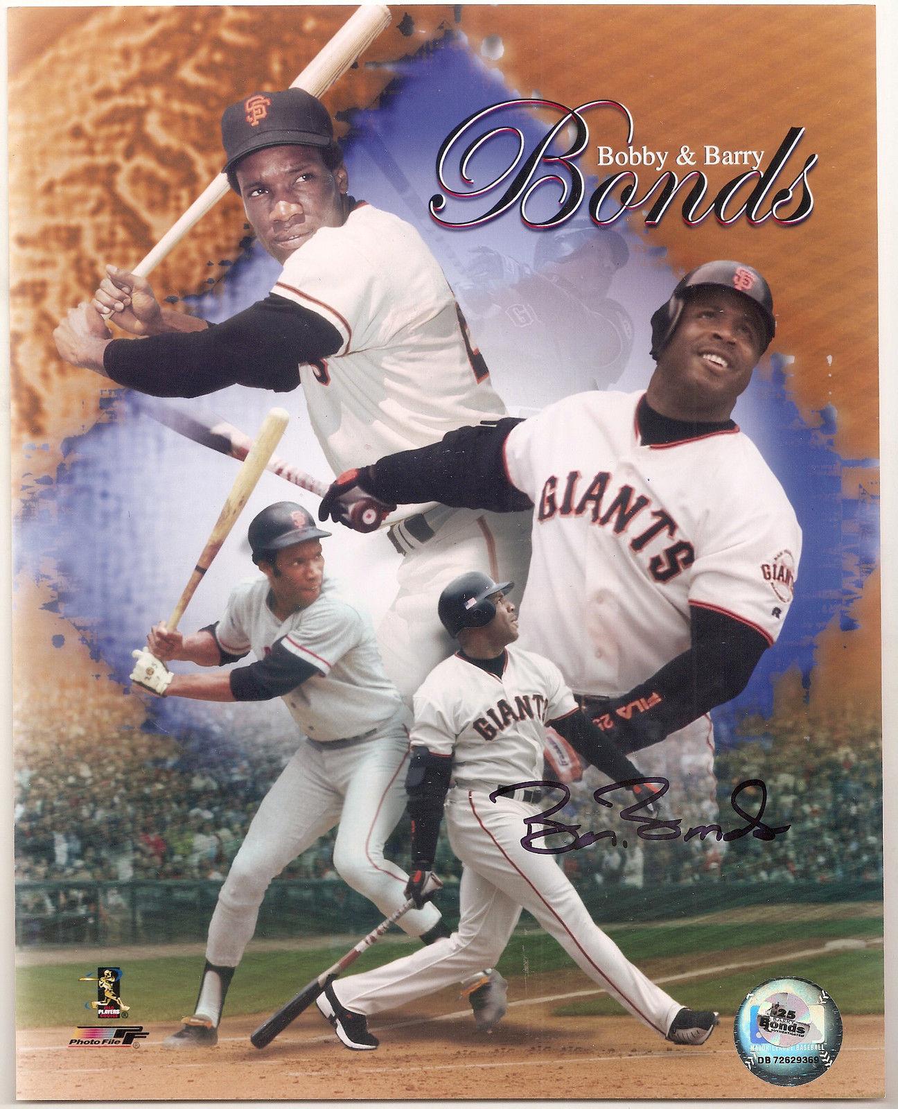 Barry Bonds Signed 8×10 photo Collage SF Giants Bonds Holo coa 762 hr autograph