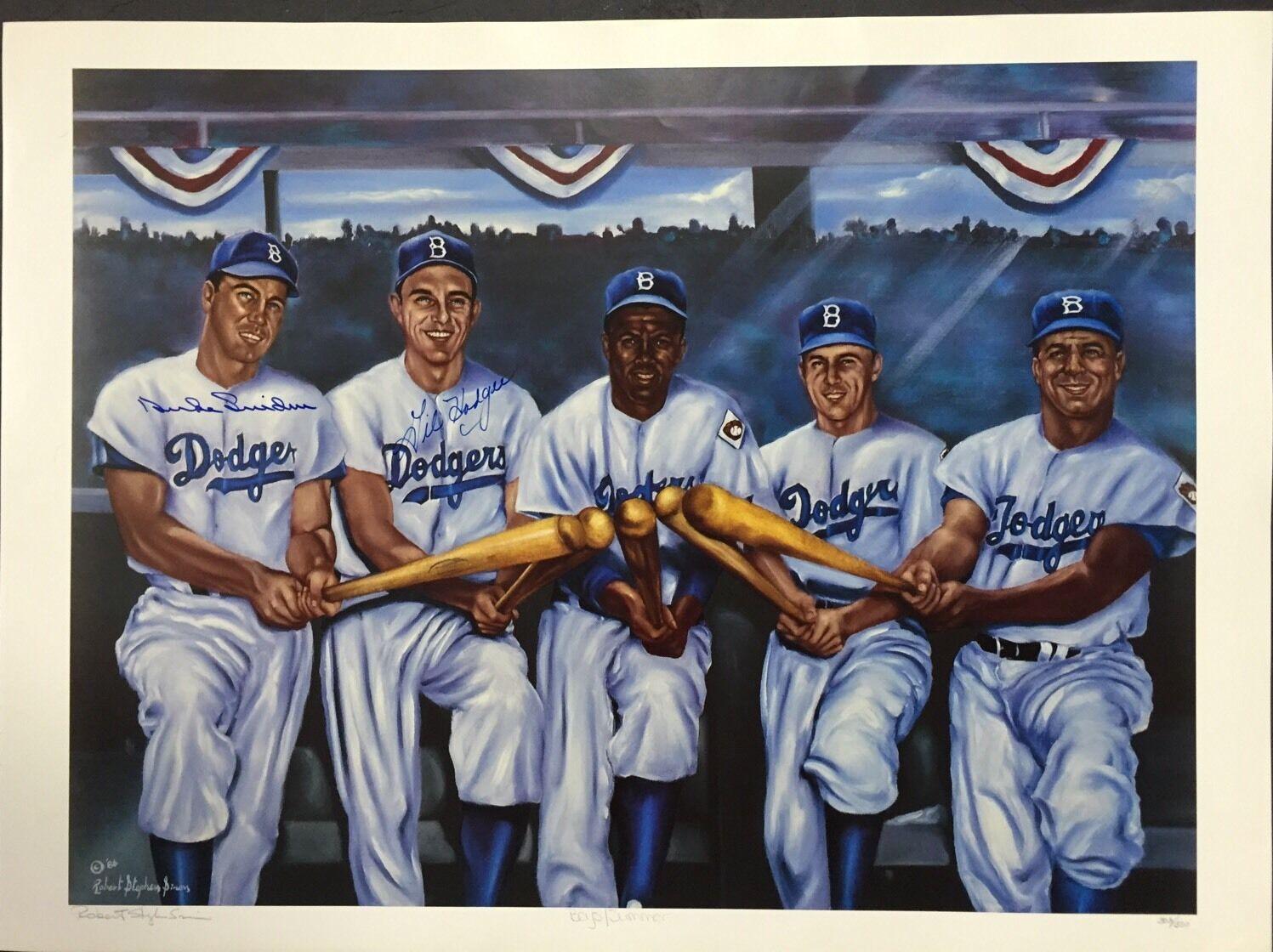 Brooklyn Dodgers Boys Of Summer Litho Photo Signed Duke Snider Mrs Hodges Le/500