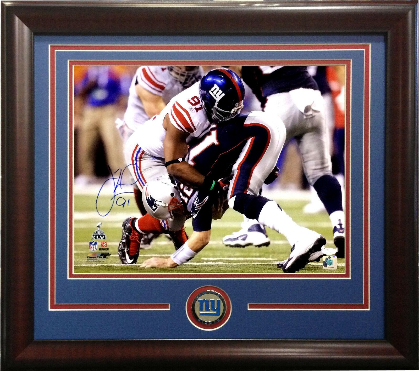 Justin Tuck signed 16×20 photo framed Giants Coin SB 46 Tom Brady SACK  JSA COA