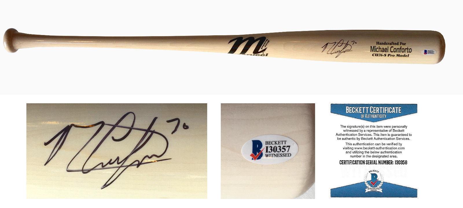 Michael Conforto signed 34″ Marucci game model baseball bat auto BAS Beckett COA