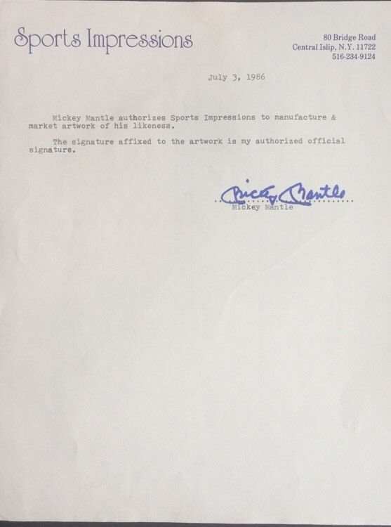 Mickey Mantle Original Signed Contract Sports Impressions 1/1 Autograph Jsa Coa