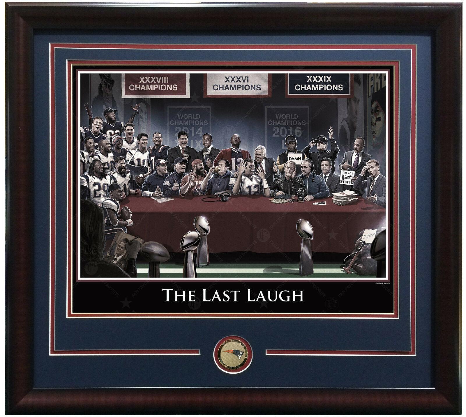 Patriots Last Laugh 16×20 lithograph photo framed coin Tom Brady SB LI MVP