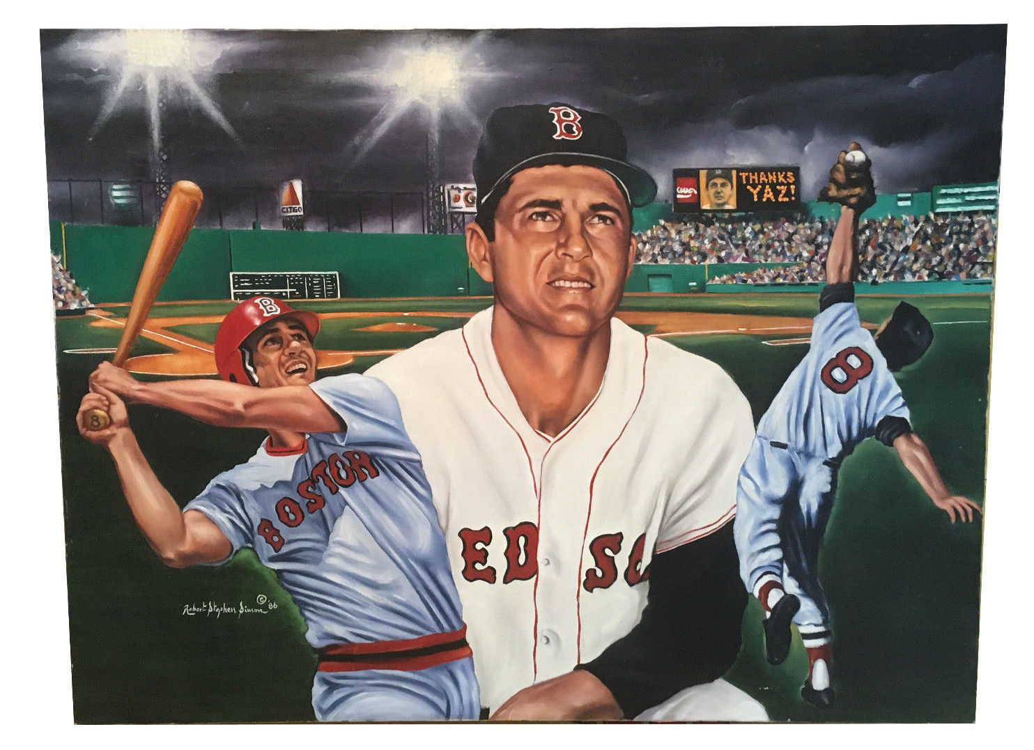 Robert Stephen Simon Original Oil Painting Canvas Carl Yastrzemski 1/1 Coa