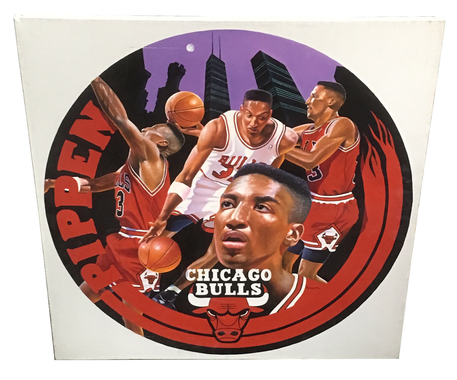 Terrence Fogarty signed original Scottie Pippen canvas painting auto COA 1/1